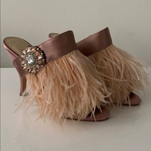 ZARA Satin Mules with feathers and crystal accent